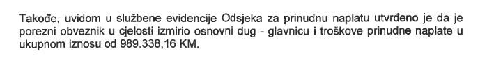 """Konačno izmireni svi porezi i doprinosi za radnike JP""""Komunalno""""d.o.o. Breza u ukupnom iznosu od 989.338,16 KM"""